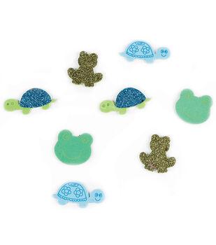 Foam Sticker Confetti-Turtles N Frogs 80/Pkg