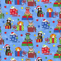 Christmas Cotton Fabric-Holiday Cats with Blue Glitter