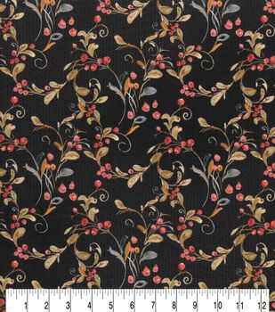 Harvest Cotton Fabric-Black Soft Berry Swirl