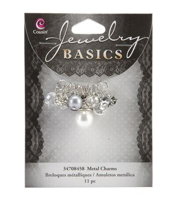 Jewelry Basics Metal Charms-Smoke Glass/Metal Bead Cluster 11/Pkg