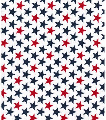 "Patriotic Cotton Fabric 43""-Bold Stars White"
