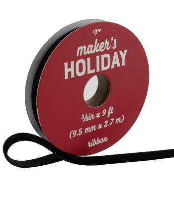 Maker's Holiday Traditional Holiday Velvet Ribbon 3/8''x9'-Black