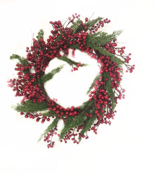 Handmade Holiday Christmas 24'' Cypress & Red Berry Wreath