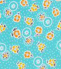 1930\u0027s Cotton Fabric 43\u0022-Dotted Flowers Teal