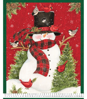 """Christmas Cotton Fabric 44""""-Snowman Panel on Red"""