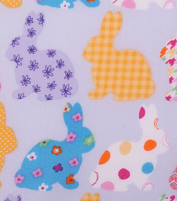Easter Cotton Fabric -Patterned Bunnies Bright