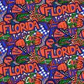 University of Florida Gators Cotton Fabric-Pop Art