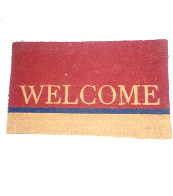 Simply Autumn Coir Mat-Welcome on Colorblock