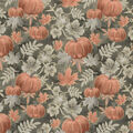 Harvest Cotton Fabric-Dark Green Pumpkins & Vines