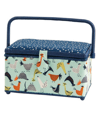 Medium Rectangle Sewing Basket-Chickens