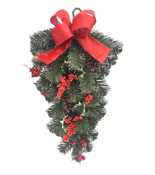 Handmade Holiday Pine, Pinecone & Berry Teardrop Wreath with Red Bow