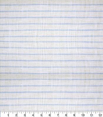 100% Linen Fabric-White Blue Thin Stripe YD