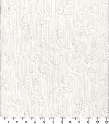 Crinkle Cotton 42''-White Embroidered
