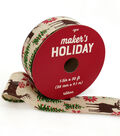 Maker\u0027s Holiday Christmas Ribbon 1.5\u0027\u0027x30\u0027-Deer & Trees on Ivory