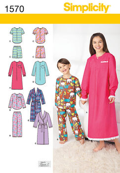 Simplicity Pattern 1570K5 Children's Loungewear-Size 7-8-10-12