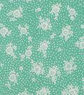 1930\u0027s Cotton Fabric 43\u0027\u0027-Dots & Floral Bouquet on Green