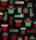 Holiday Showcase Christmas Cotton Fabric 43\u0027\u0027-Packed Presents on Black