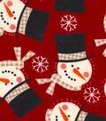 Christmas Snuggle Flannel Fabric-Snowman Faces Tossed