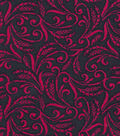 Quilter\u0027s Showcase Fabric -Raspberry Floral Scroll on Navy