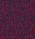 Quilter\u0027s Showcase Fabric 43\u0027\u0027-Raspberry Floral Scroll on Navy