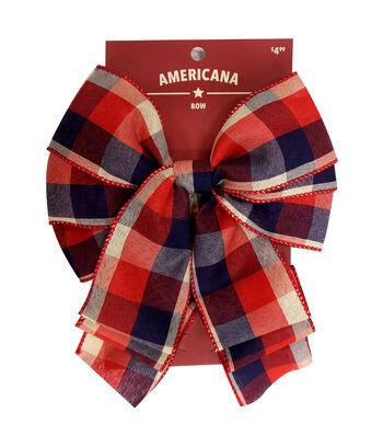 "Americana 2.5"" Bow-Red, White & Blue Plaid"