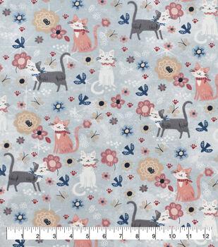 Snuggle Flannel Fabric-Sitting Pretty Kitty