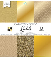 Park Lane 18 Pack 6''x6'' Cardstock Stack-Golds, , hi-res