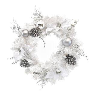 Handmade Holiday Christmas Bauble, White Poinsettia & Pine Wreath