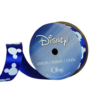 Offray Disney Satin Ribbon 7/8''x 9'-Light Blue Mickey on Navy