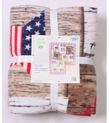 No Sew Fleece Throw Kit 72''-Wood Flag Patch