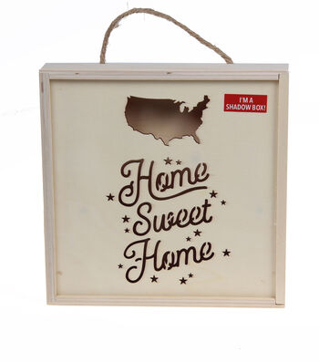 Camp Ann Crafts Wood Surface Shadowbox Frame-Home Sweet Home