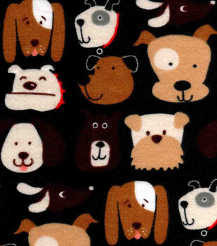 Snuggle Flannel Fabric -Dog Faces