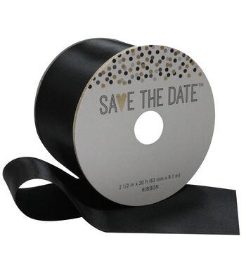 Save the Date 2.5'' X 30' Ribbon-Black Satin