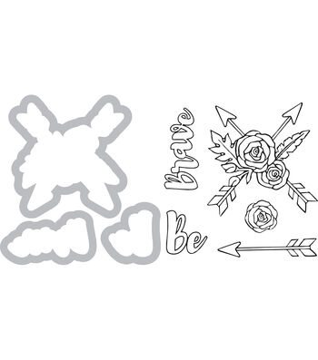 Sizzix Framelits Jen Long Die & Stamp Set-Be Brave