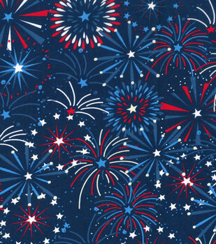 Patriotic Cotton Fabric -Star Fireworks