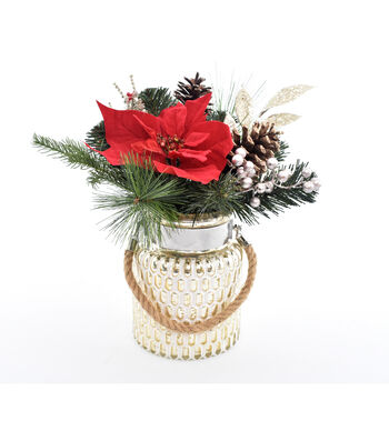 Blooming Holiday 11'' Poinsettia, Berry & Frosted Pinecone Arrangement