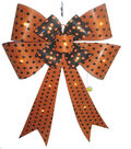 Maker\u0027s Halloween Bow with LED-Orange & Black Polka Dots