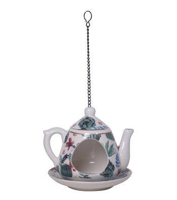 Hello Spring Gardening Porcelain Teapot Bird Feeder-Cactus