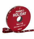 Maker\u0027s Holiday Ribbon 3/8\u0027\u0027x9\u0027-Snowflakes on Red & Black Checks