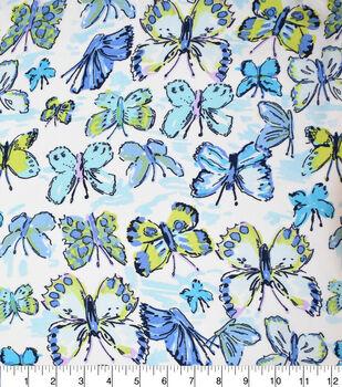 Fast Fashion Dobby Print Fabric-Lagoon Butterflies