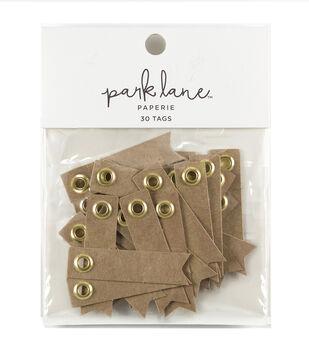 Park Lane 30 pk Eyelet Banner Label Tags-Gold & Kraft