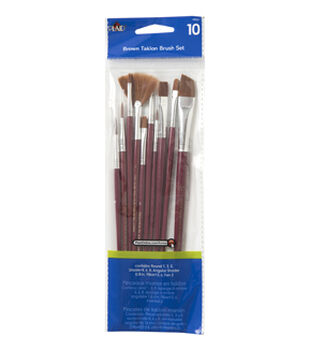 Plaid Taklon Brush Set 10pk-Brown