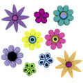 Jesse James Dress It Up Trendy Button Embellishments-Flower Power