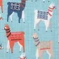 Novelty Cotton Fabric-Mixed Llamas with Blankets