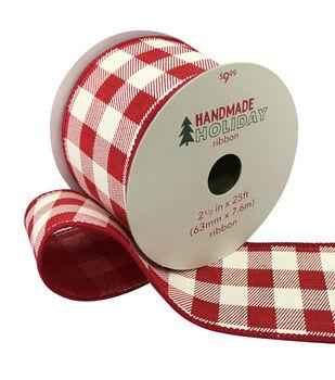 Handmade Holiday Christmas Ribbon 2.5''x25'-Ivory & Red Plaid