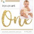 Momenta Iron-On Art Gold Chunky Glitter-One Year Old