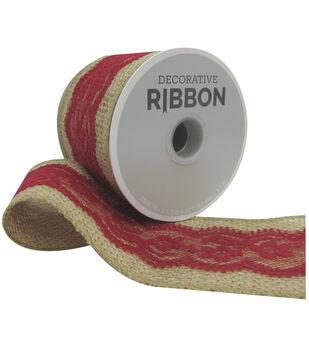 Decorative Ribbon Lace on Burlap 2.5''x12'-Red