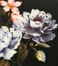 Modern Vintage Stretch Crepe Fabric 57\u0027\u0027-Pink Floral on Black