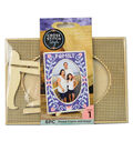 Cross Stitch Style Oval Wood Frame & Easel