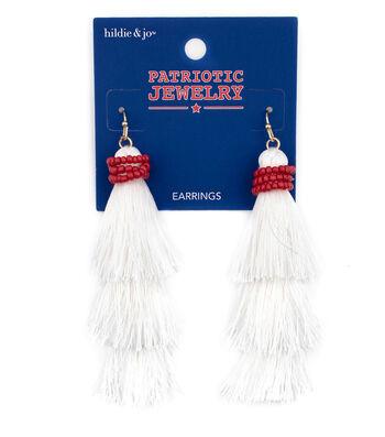 hildie & jo Patriotic Jewelry Tassel Earrings-White & Red